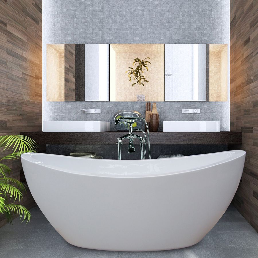 Aquatica Purescape Acrylic High Gloss White Oval Freestanding Bathtub With  Center Drain (Common: 38 In X 75 In; Actual: 25 In X 37.5 In X 74.75 In)
