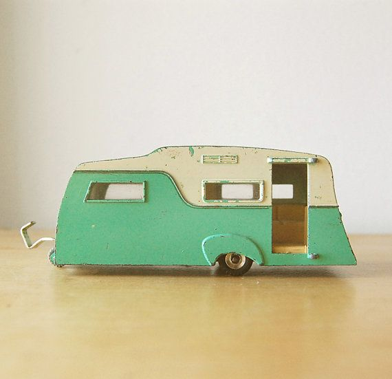Vintage Collectible Retro Diecast Dinky Caravan Camper RV Trailer In Turquoise And Cream For Summer Camping Vacation