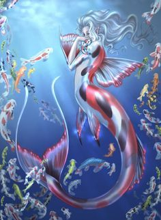 7cb2bece076a6 Koi Mermaid by driany.deviantart Drake, Butterfly Koi, Fantasy Mermaids,  Mermaids And
