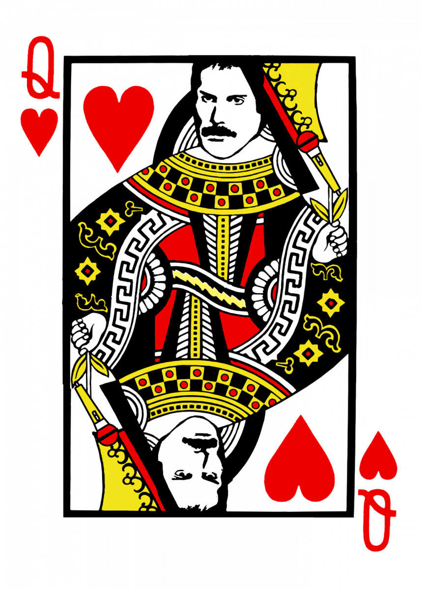 Freddie Mercury Queen Card Poster Art Print By Giovanni Poccatutte Displate Queen Of Hearts Tattoo Queen Of Hearts Card Hearts Playing Cards