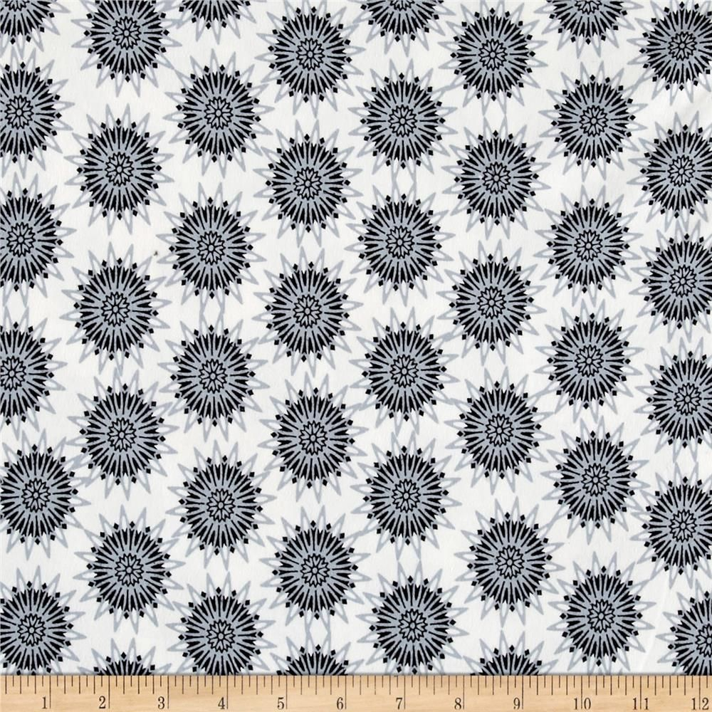 ca24a992d88 Stof Avalana Jersey Knit Bursting Black & Grey Geo Flowers On White  Ground from @