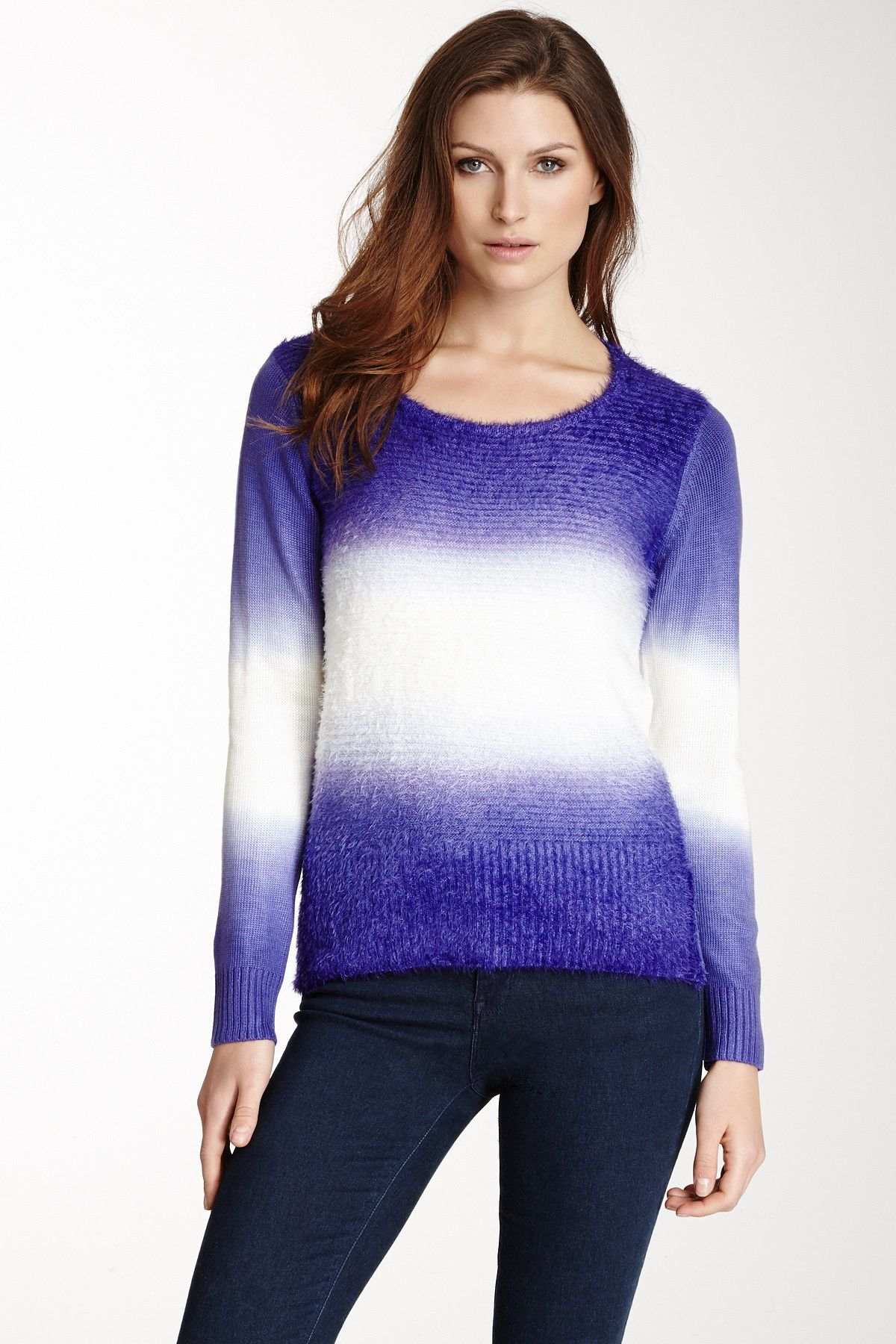 Vip Two-Tone Feather Ombre Eyelash Pullover on HauteLook