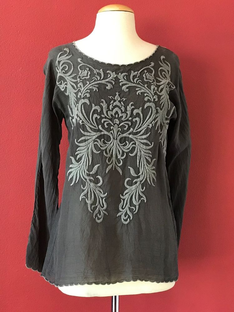 18fe675ab7230 JOHNNY WAS Gray Embroidered Crinkle Rayon Tunic Top Size XS  JohnnyWas   Tunic  Casual