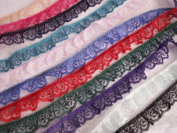 PURPLE~1 1//4 Inch Wide Ruffled Candlewick Lace Trim~By 5 Yards