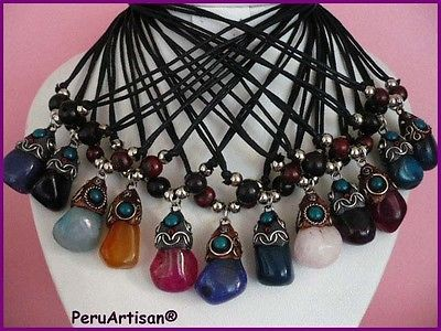 WHOLESALE 18 PERUVIAN NECKLACES LEATHER QUARTZ AGATE STONES!!