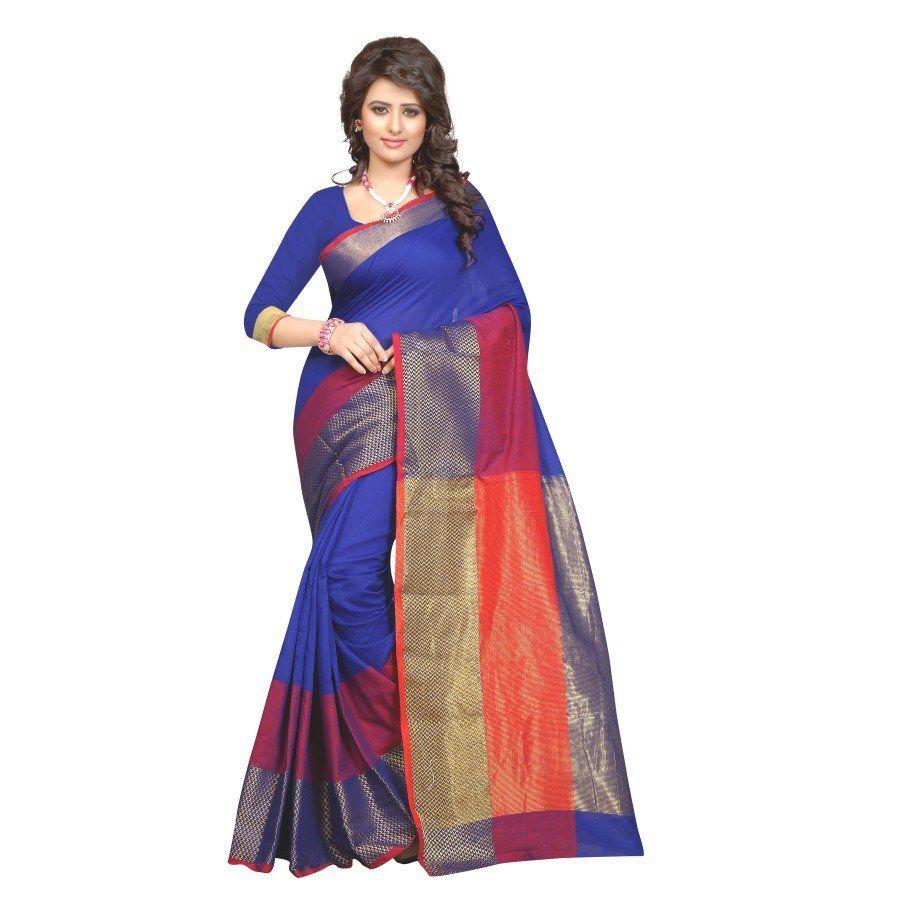 Saree blouse design for cotton saree fashionable blue color cotton silk kanchivaram saree  new latest
