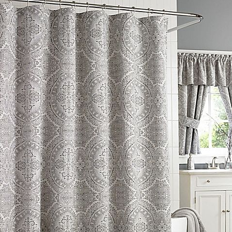 J. Queen New York Colette Shower Curtain in Silver | Bathroom ...