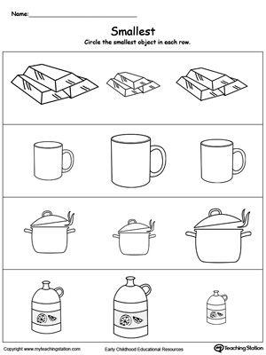 Smallest Worksheet Identify The Smallest Object Preschool Math Worksheets Kindergarten Worksheets Printable Kindergarten Worksheets