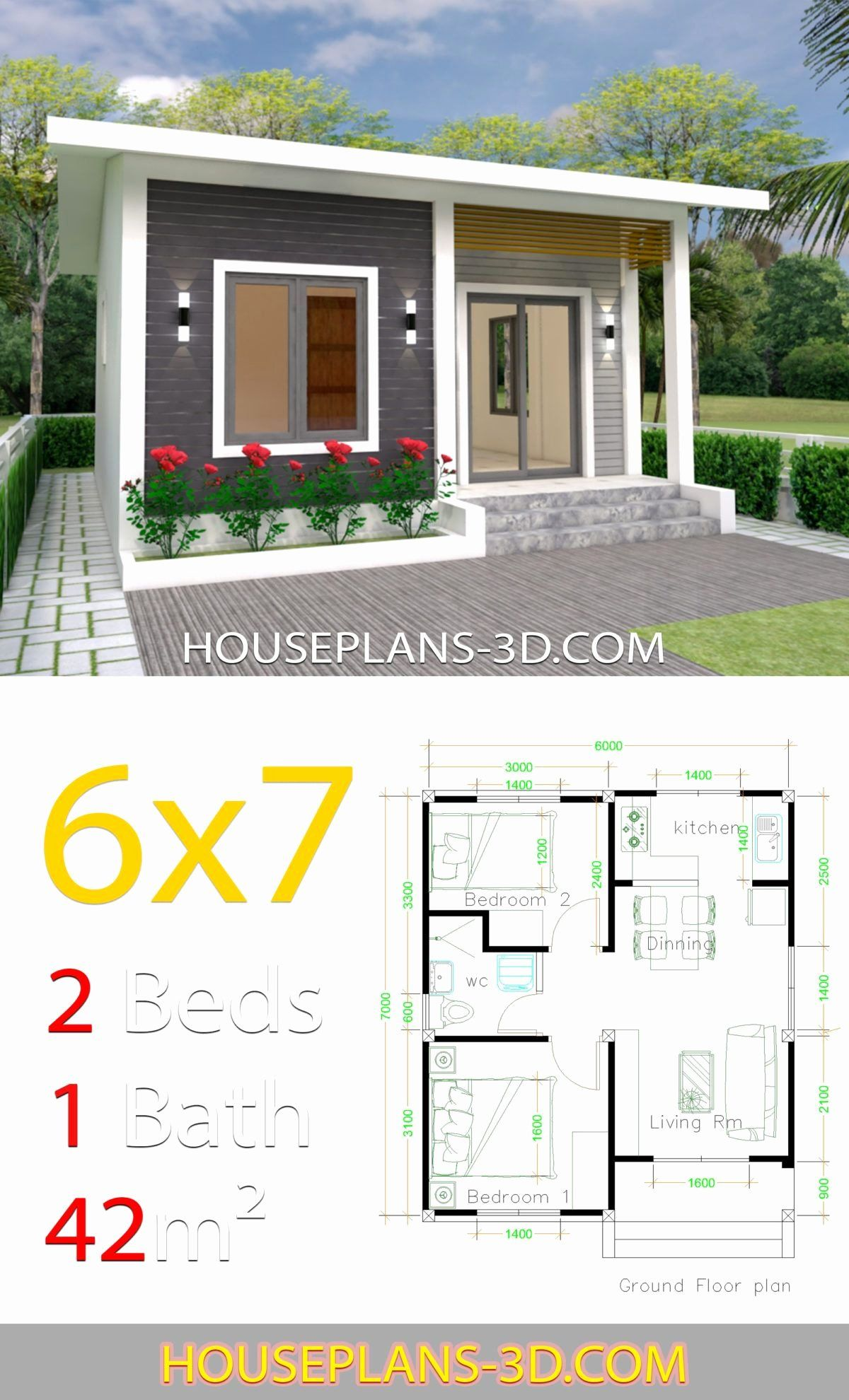 Tiny 2 Bedroom House Plans Awesome House Design 6x7 With 2 Bedrooms House Plans 3d In 2020 Simple House Design Small House Design Small House Design Plans