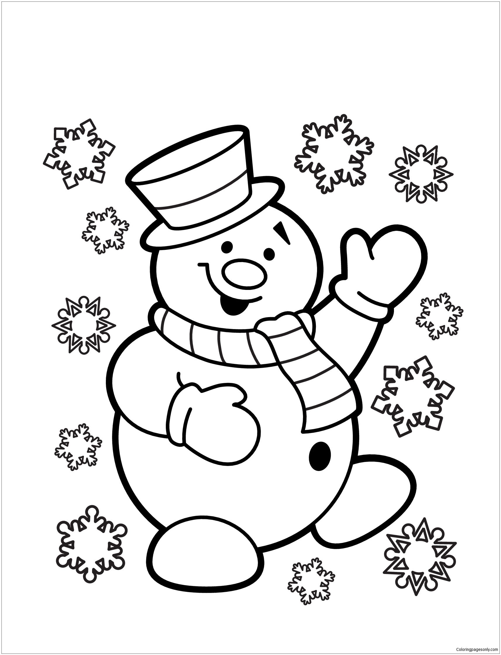 Snowman 3 Coloring Page Free Christmas Coloring Pages Christmas Coloring Sheets Snowman Coloring Pages