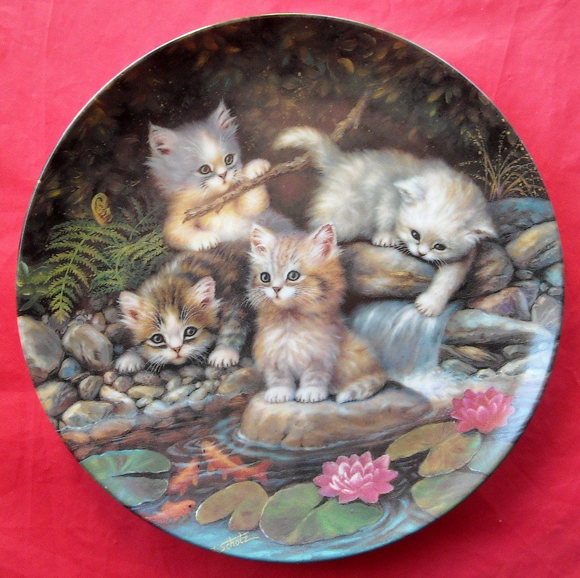 Kahla Kitten Expeditions Lily Pond Porcelain Plate 1996 Lily Pond Kitten Pond