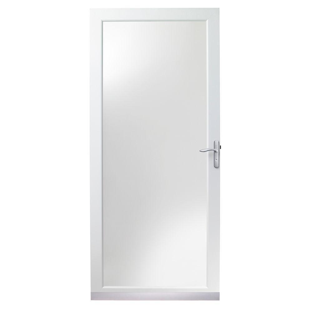 Andersen 36 In X 80 In 4000 Series White Universal Fullview Aluminum Storm Door With Nickel Hardware Hd4fvn36wh Aluminum Storm Doors Storm Door Storm Door Makeover