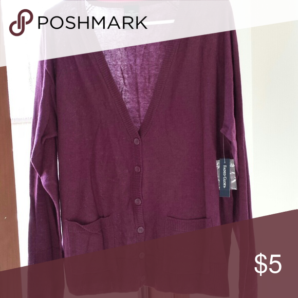 Womens Sweater Burgundy vee neck button cardigan 2 pockets Faded Glory Sweaters V-Necks