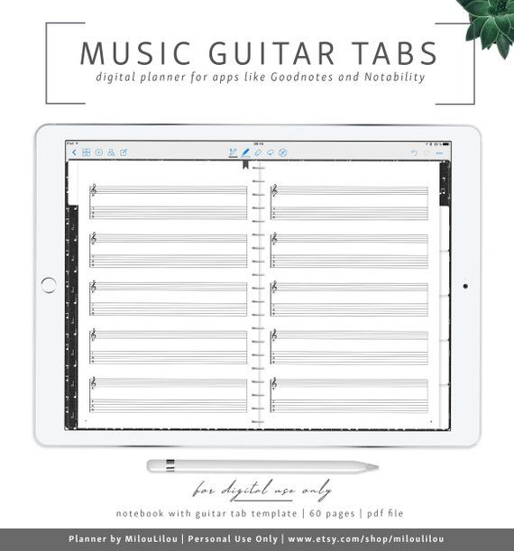Music Sheets Goodnotes Notability Digital Planner Tabs Piano Notebook Blank