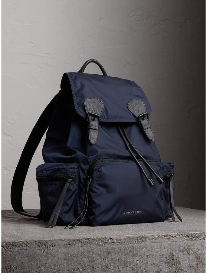 20832da2a8a The Large Rucksack in Technical Nylon and Leather in Ink Blue - Men ...