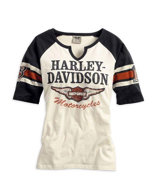 Harley Davidson Womens Iconic Henley Tee With Images Harley Davidson Shirt Harley Davidson Clothing Harley Davidson Women