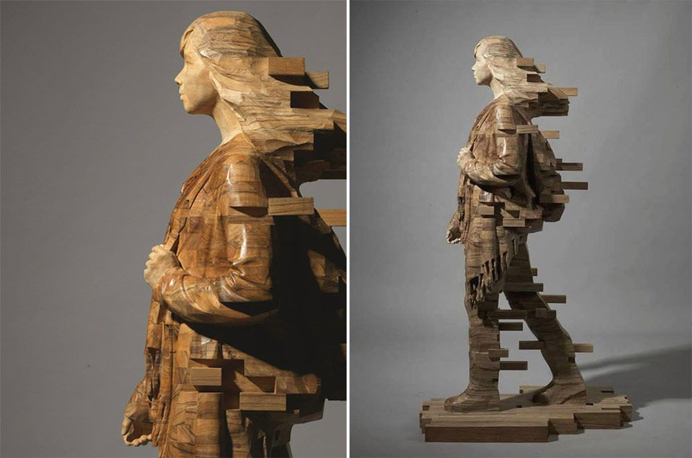 Pixelated Wood Sculptures By Taiwans Hsu Tung Han Via - Taiwanese sculpture uses wood to create sculptures of people effected by pixelated glitches