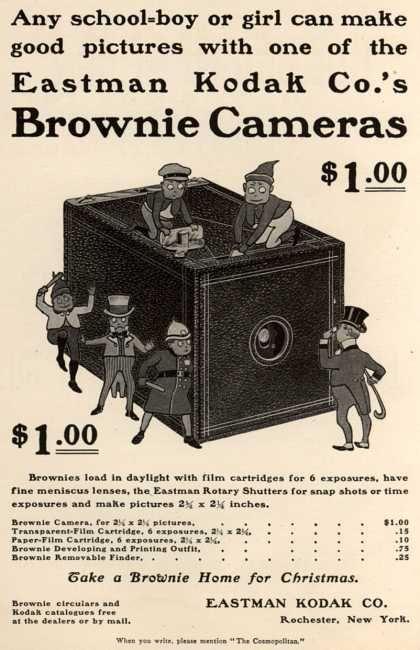 9 1900  Eastman Kodak Co 's Brownie Cameras for one dollar