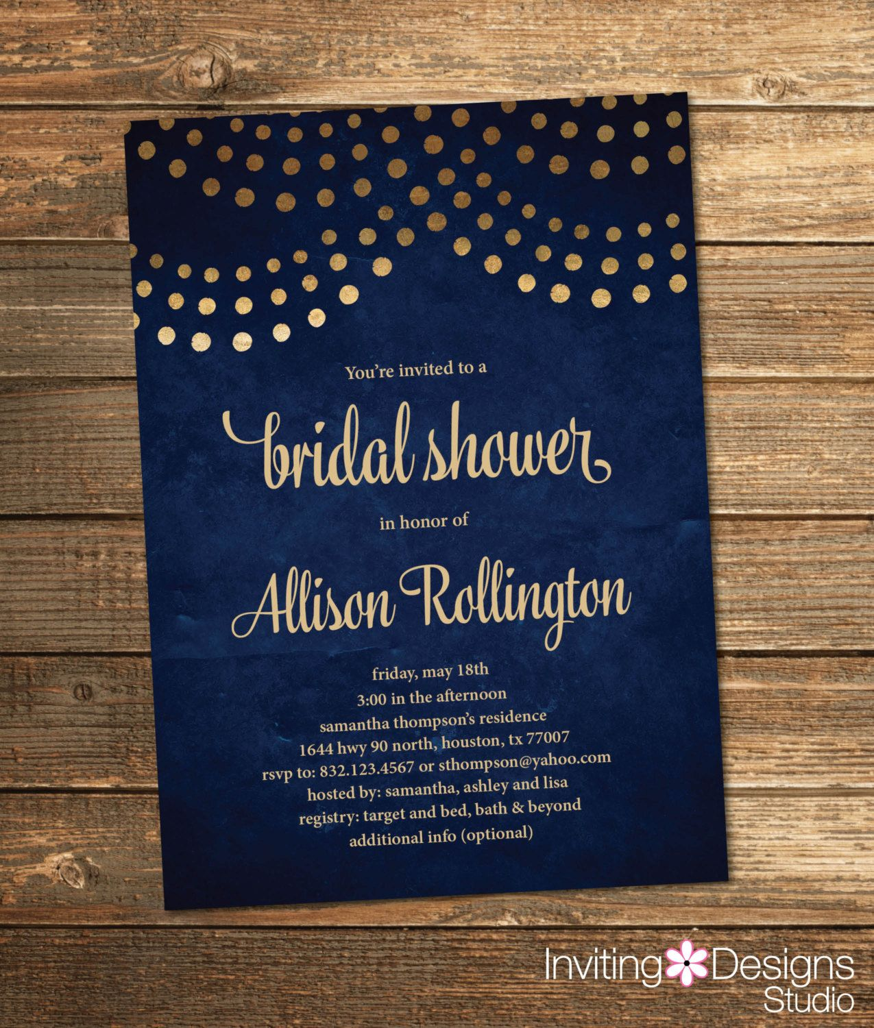 Navy blue bridal shower invitation navy and gold string lights navy blue bridal shower invitation navy and gold string lights wedding shower invite filmwisefo Images