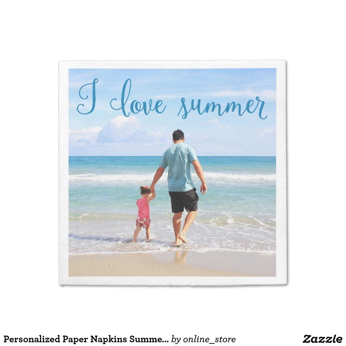Personalized Paper Napkins Summer Add Photo | Zazzle.com
