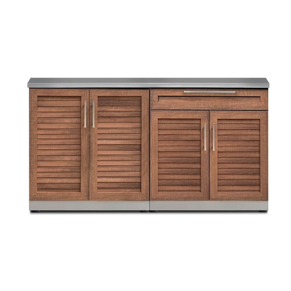 Newage Products Natural Cherry 3 Piece 64 In W X 36 5 In H X 24 In D Outdoor Kitchen Cabinet Set Outdoor Kitchen Outdoor Kitchen Cabinets Newage Products