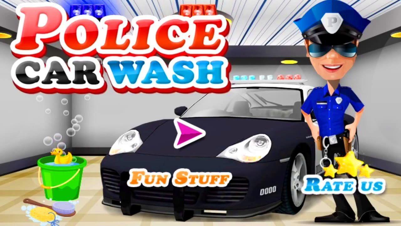 police car wash ar game cartoon for kids