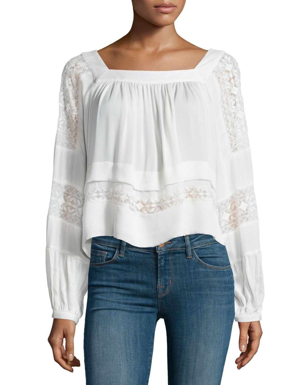 Rebecca Taylor Lace Sleeve Cotton Jersey Top