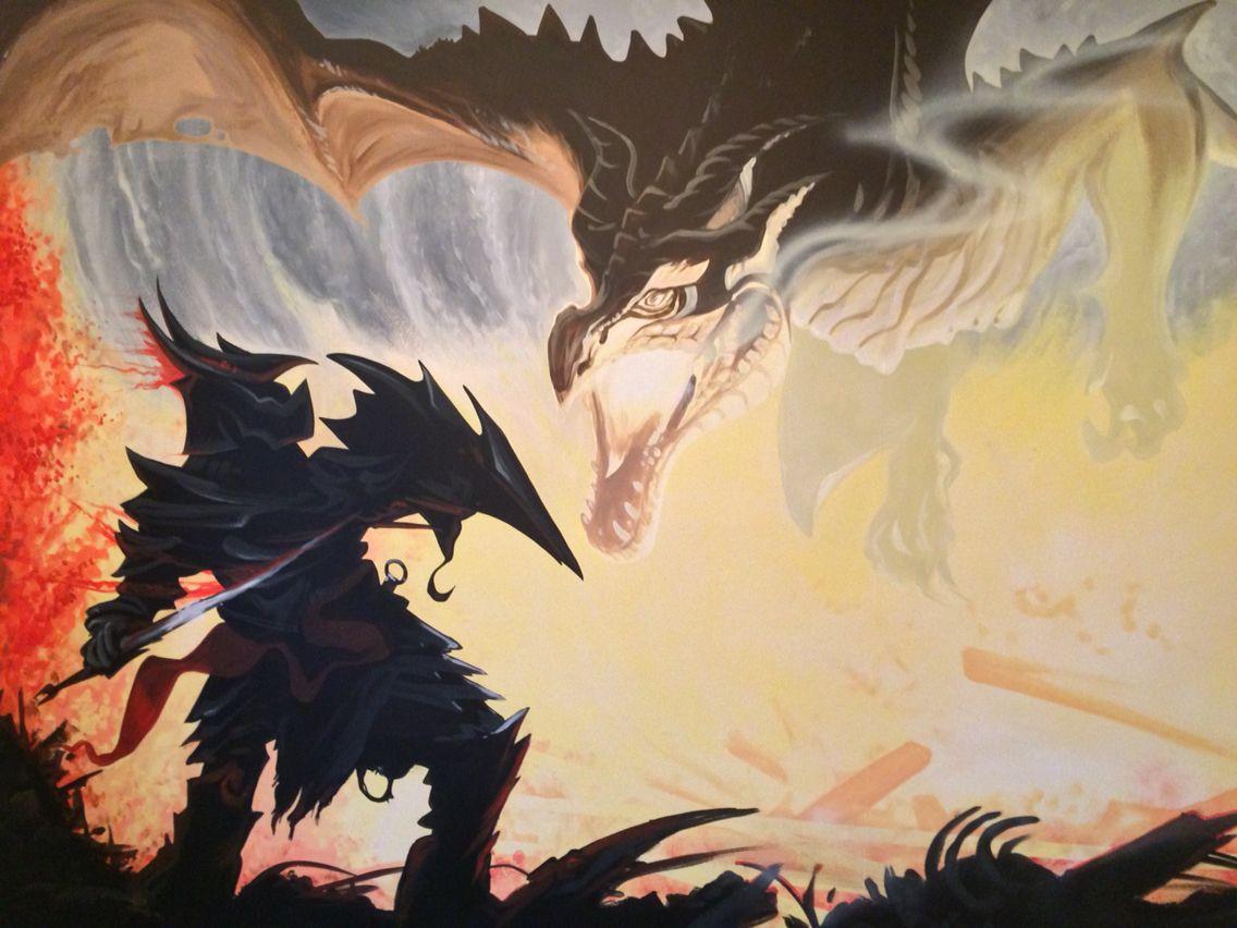 Skyrim painted wall mural | Kids Wall Murals | Pinterest | Wall ...