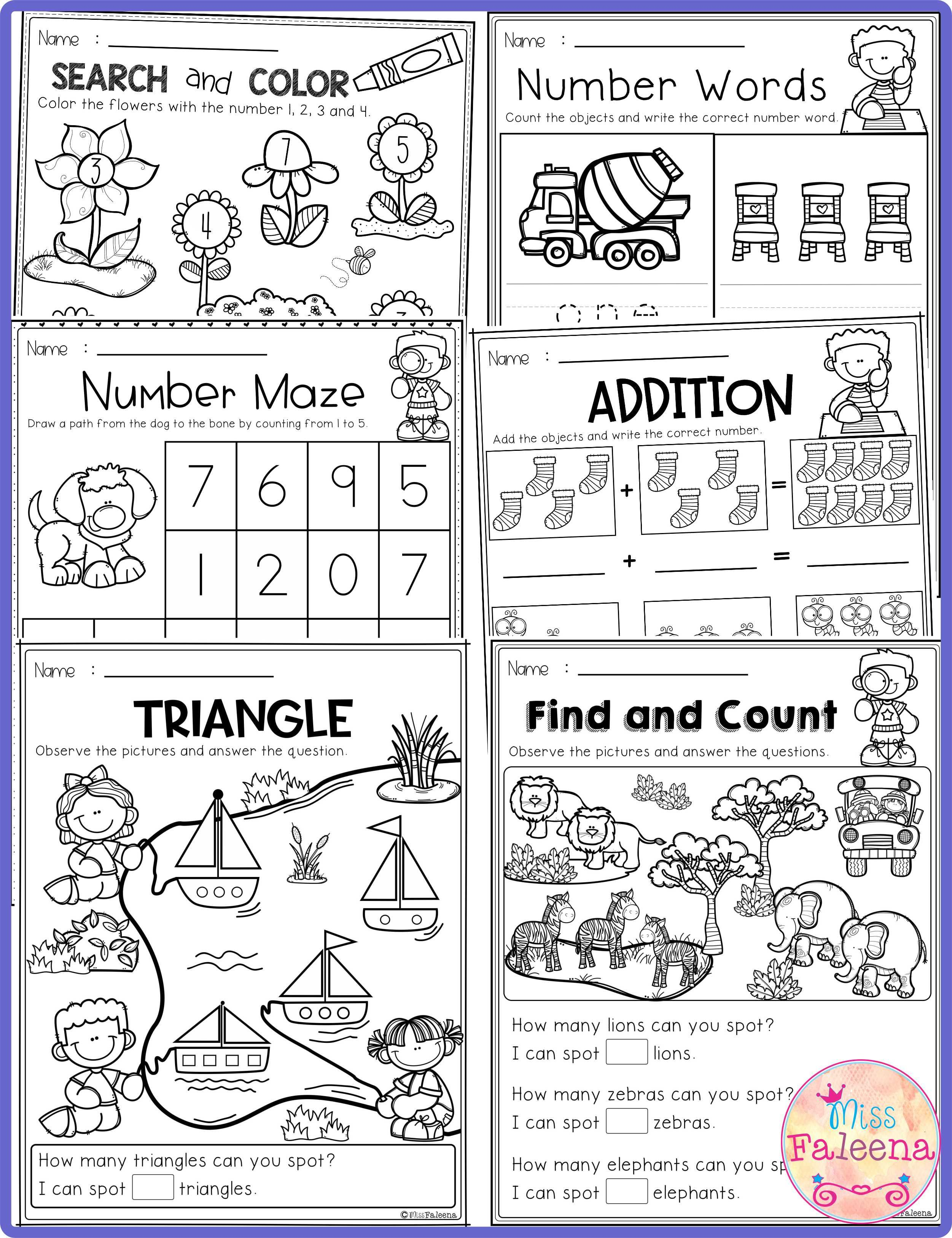 Free Kindergarten Math Has 7 Pages Of Math Practice