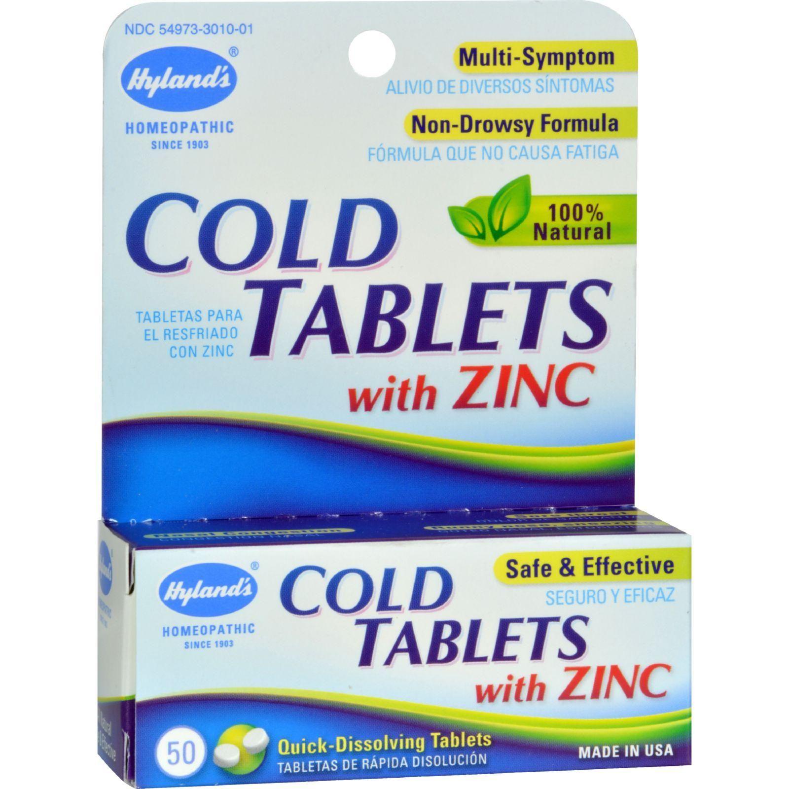 Hyland S Cold Tablets With Zinc Description 100 Natural No Side