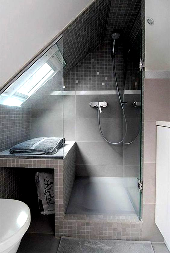 Small Attic Bathroom Sloped Ceiling In 2020 Small Attic Bathroom