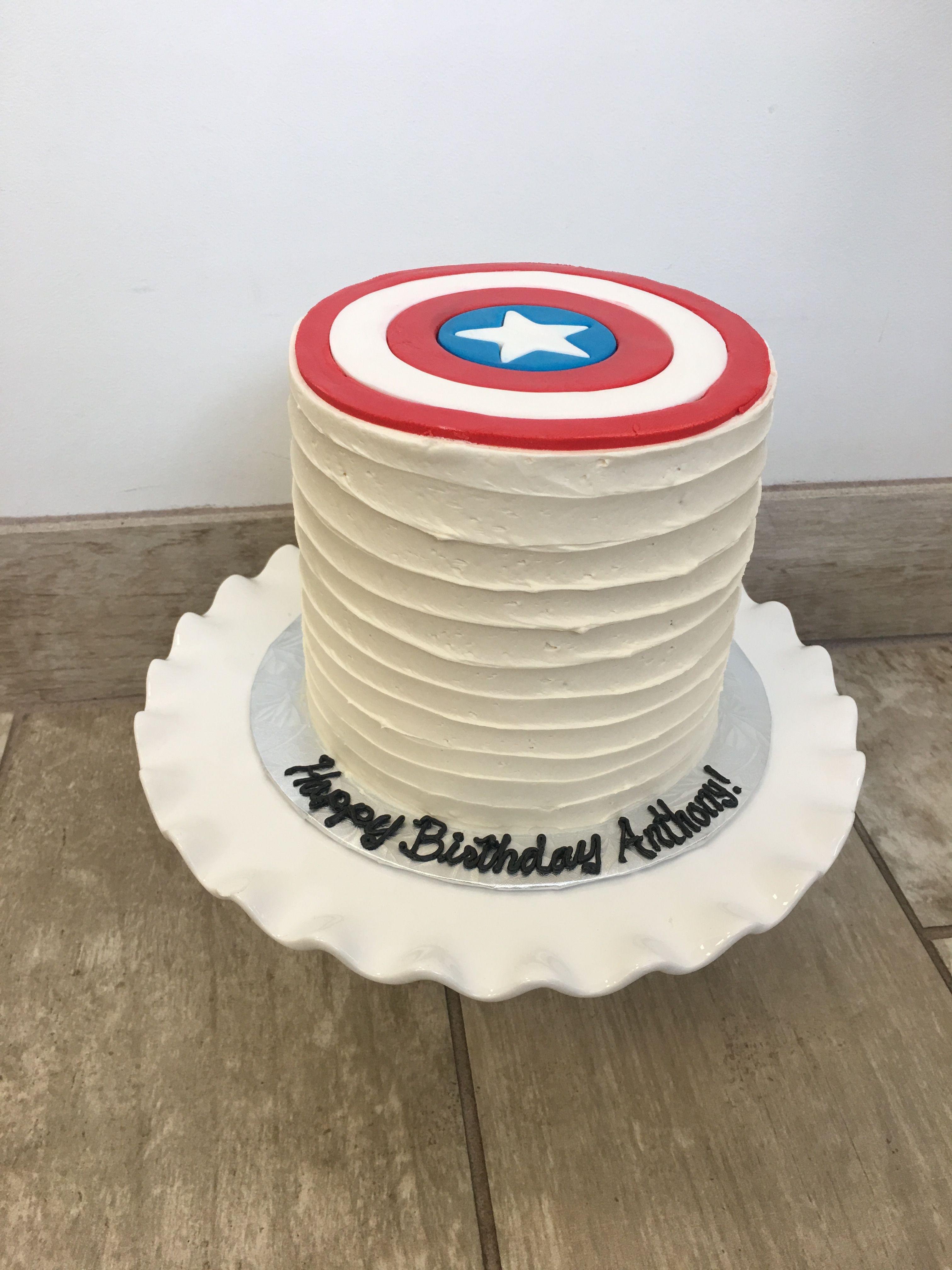 Captain America Buttercream And Fondant Birthday Cake With Fondant