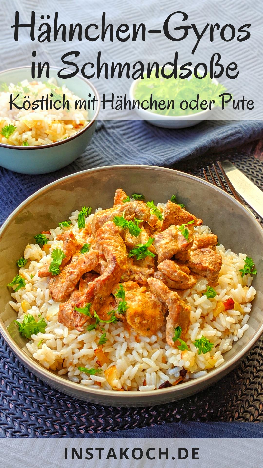 Gyros-Geschnetzeltes in Schmand Soße mit Reis ist ein einfaches Rezept, das jeder nachkochen kann. Es schmeckt super lecker und ist schnell zubereitet. Mit Hähnchen oder Pute ein echter Genuss. Gesund und lecker zuhause kochen. #gyros #gyrosgeschnetzeltes #huhn #geflügel #pute #putengeschnetzeltes #hähnchengeschnetzeltes #kochrezept #familienessen #kinderessen