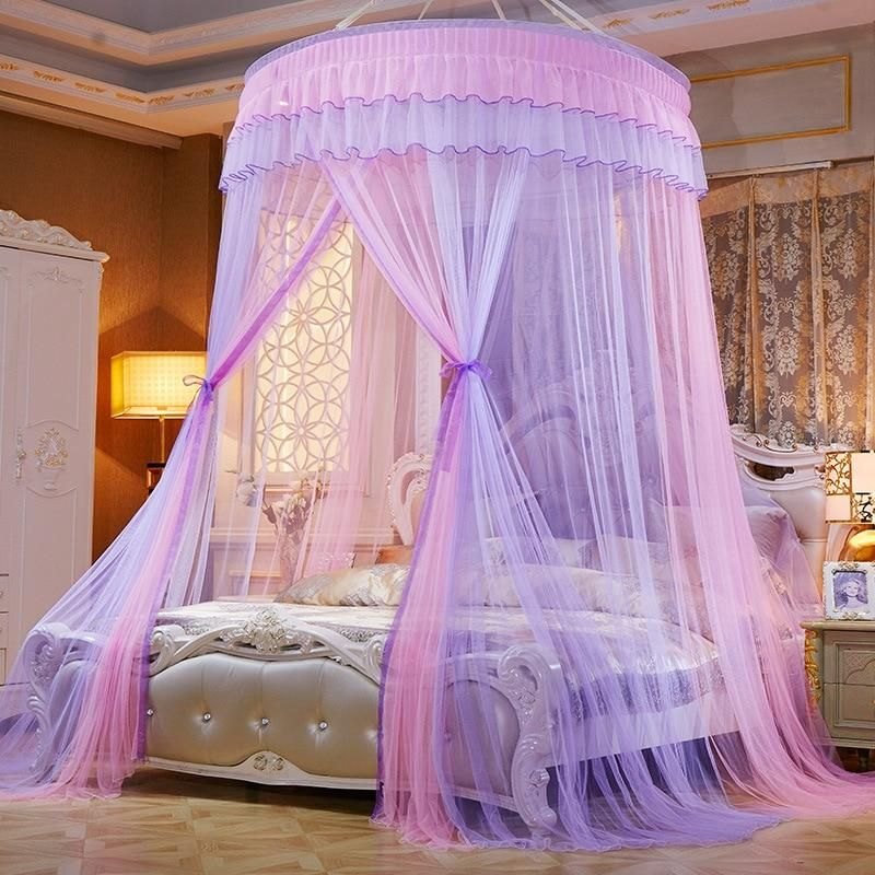 Two Color 47 Round Sheer Princess Bed Canopy Princess Canopy Bed Round Beds Girl Bedroom Decor