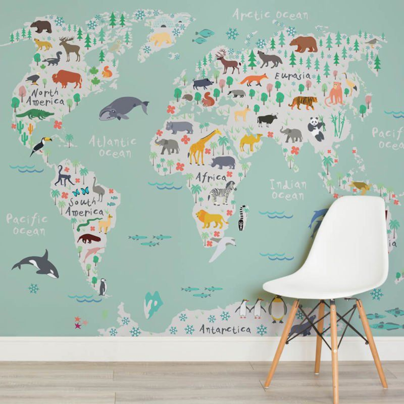 Safari map childrens square 1 wall murals new house pinterest these fun world map wallpapers are a great way to create a feature wall in a kids bedroom thats both artistic and educational gumiabroncs Choice Image