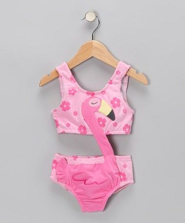 2369ecd53ee Zulily Girls Pink Flamingo Swimsuit! | Girls Clothing | Toddler girl ...