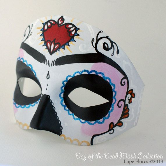 25e4f2b0a47 Frida Kahlo Sugar Skull Day of the Dead Mask Hand painted by Lupe ...