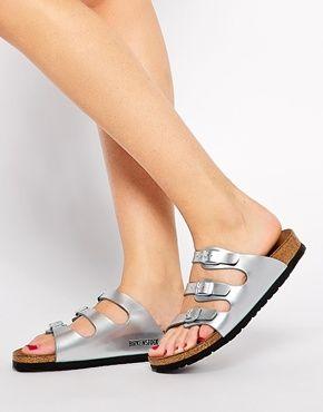 07089aa1e933 Birkenstock Florida Steel Silver Metallic Flat Sandals
