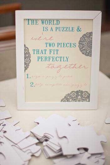 puzzle piece sign in | DIY Wedding | Pinterest | Wedding, Guestbook ...