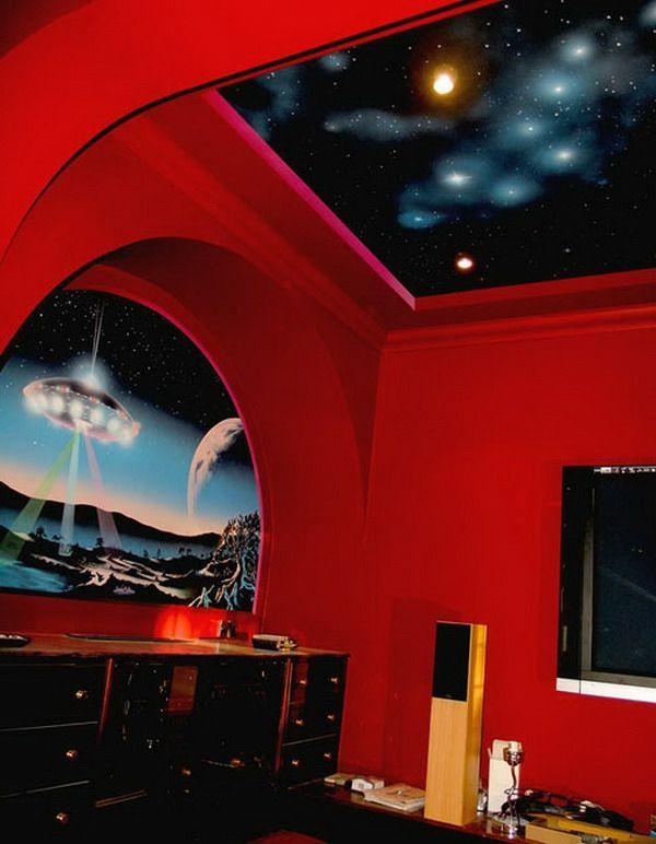 tapeten-farben-ideen-modernes-rotes-zimmer Wand Deko Pinterest - wohnideen tapeten ideen