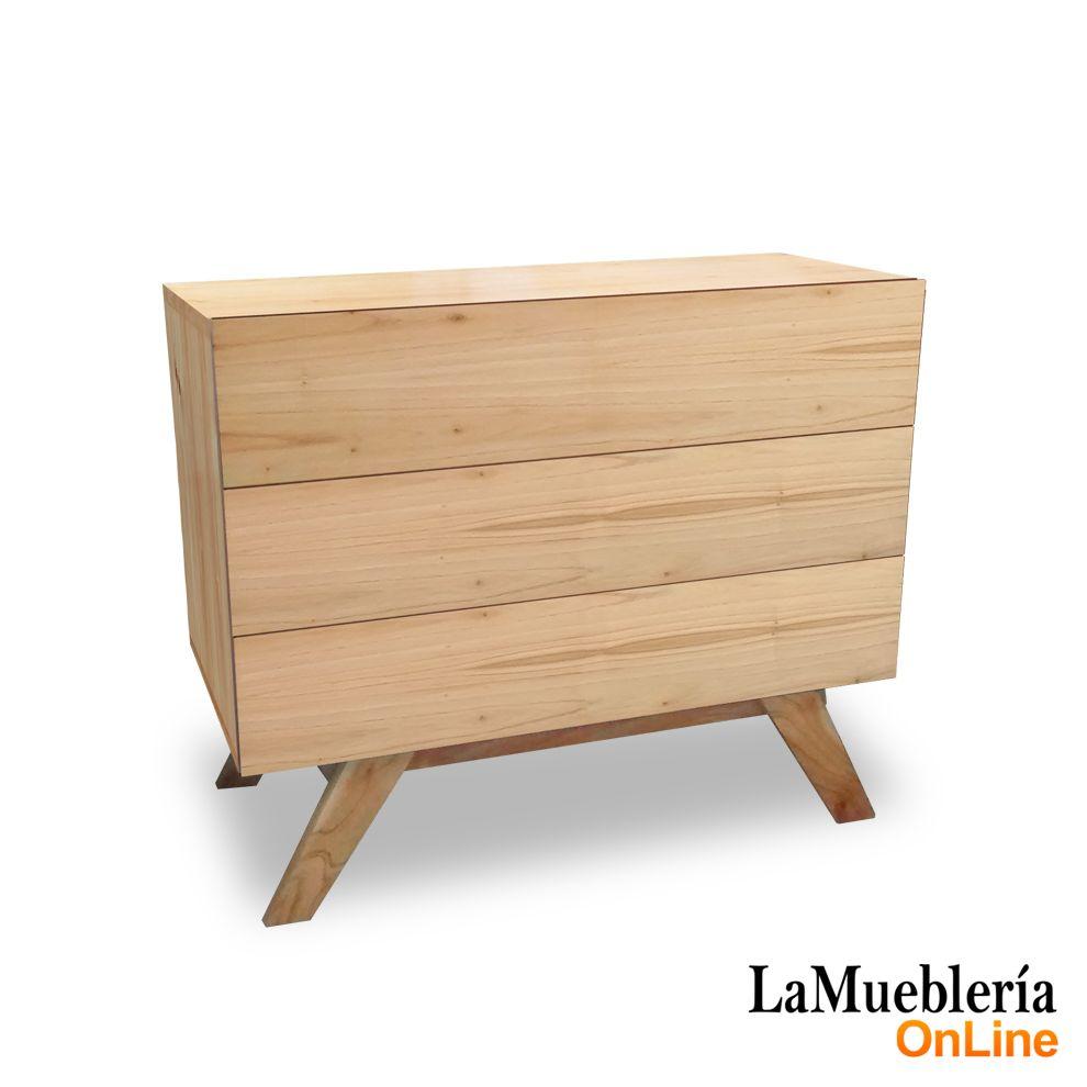 Comoda madera de paraiso 90cm ancho lustre natural con 3 cajones en la muebleria online - La muebleria ...