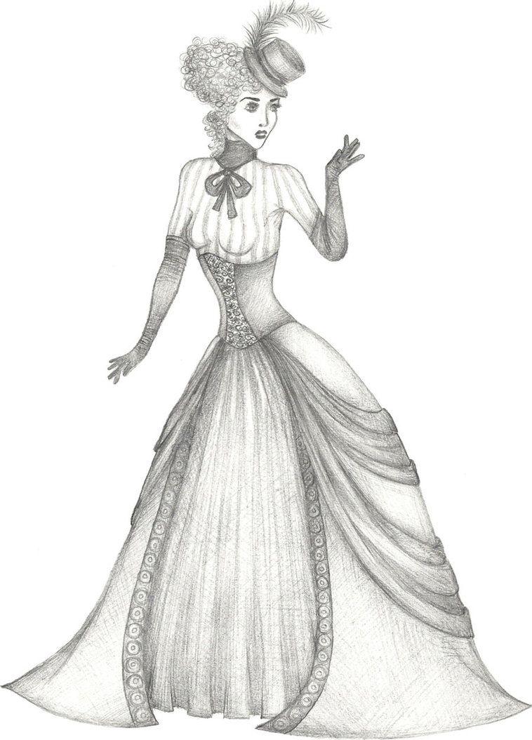 Neo Victorian Lady Desenhos Para Colorir Vestidos E Desenhos