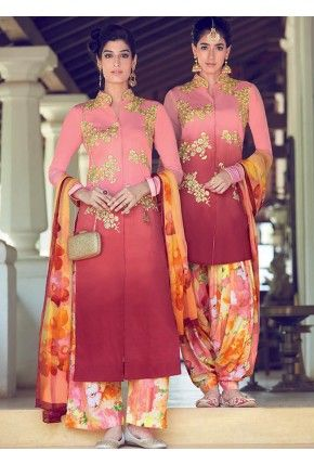 Pink and Magenta Omber Straight Cotton Suit