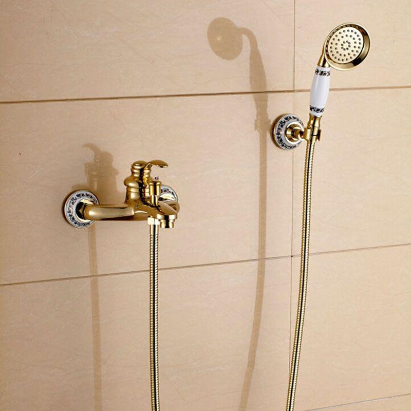 Modern Style Wall Mount Handheld Shower Set Faucet Golden Bathroom Shower Mixer Tap W Bracket Shower Faucet Shower Mixer Taps Bath Shower Mixer Taps