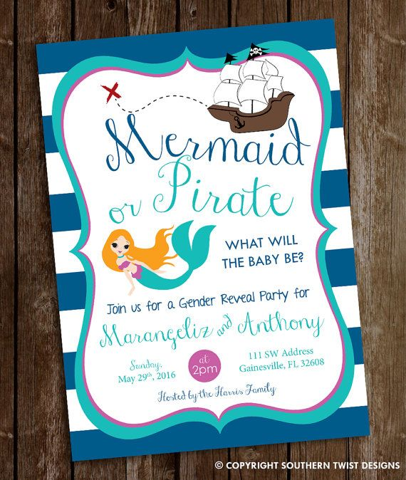 Gender Reveal Invitation He Or She Invite By SouthernTwist1 Pirate Birthday Invitations Bash