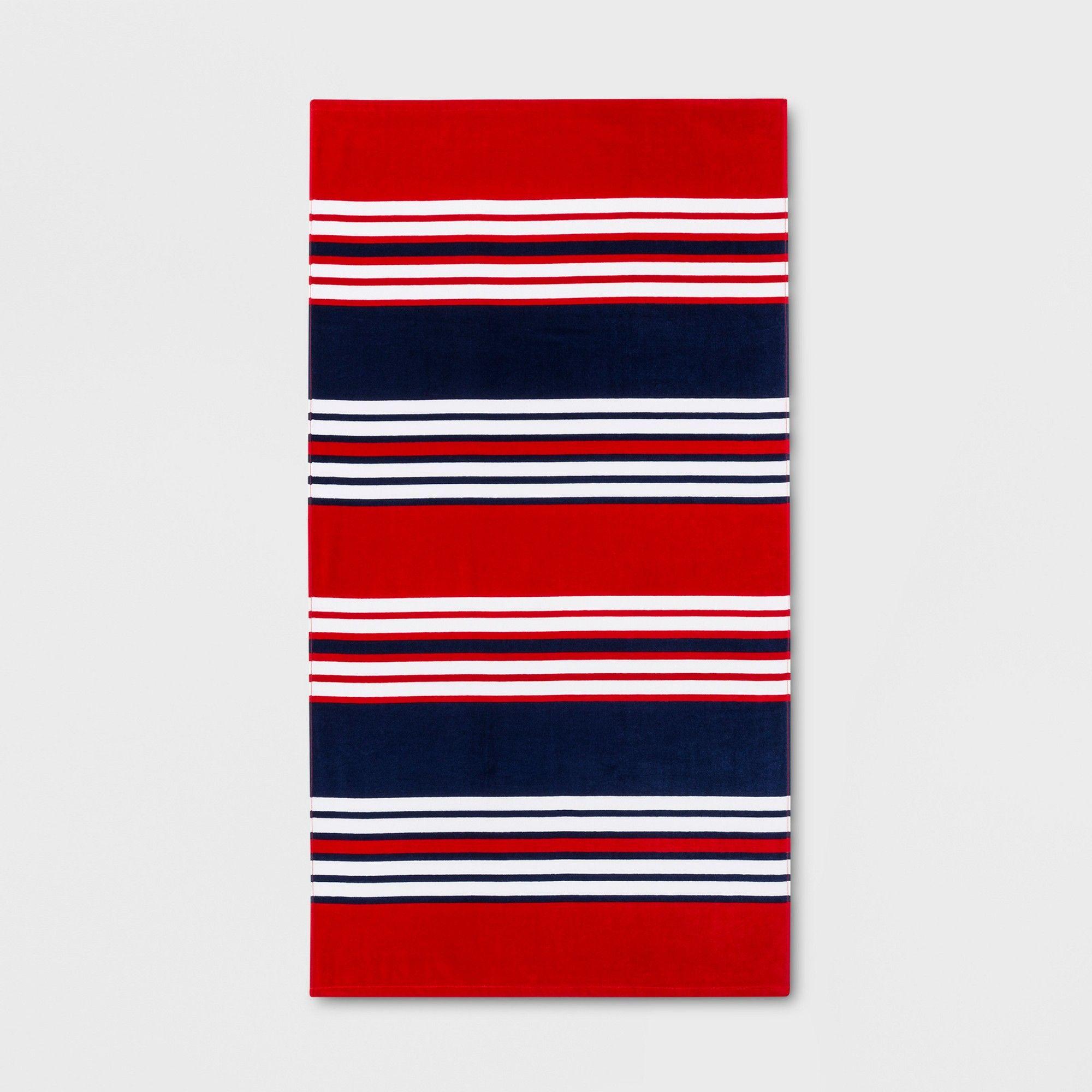 Horizontal Stripes Beach Towel Navy Red Sun Squad Beach Towel