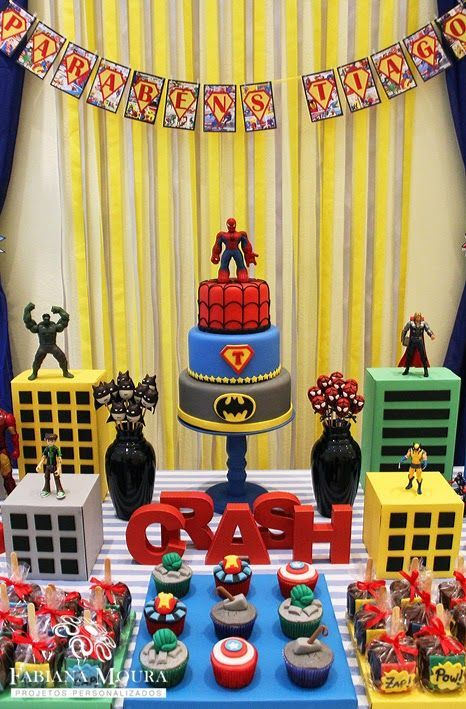 Superhero party Superhero dessert table Kids Birthday Party Ideas