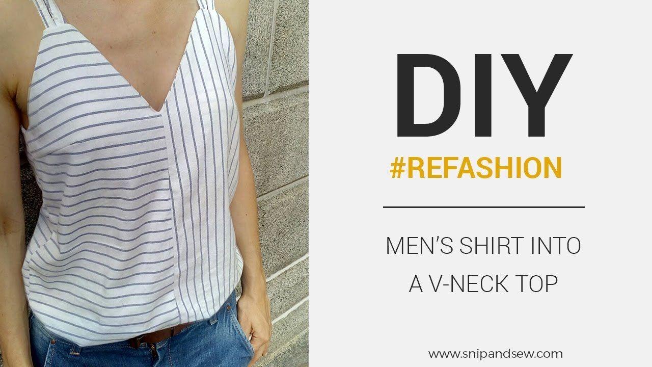 DIY/REFASHION- Camiseta de tirantes con escote en V - Patrón gratis ...