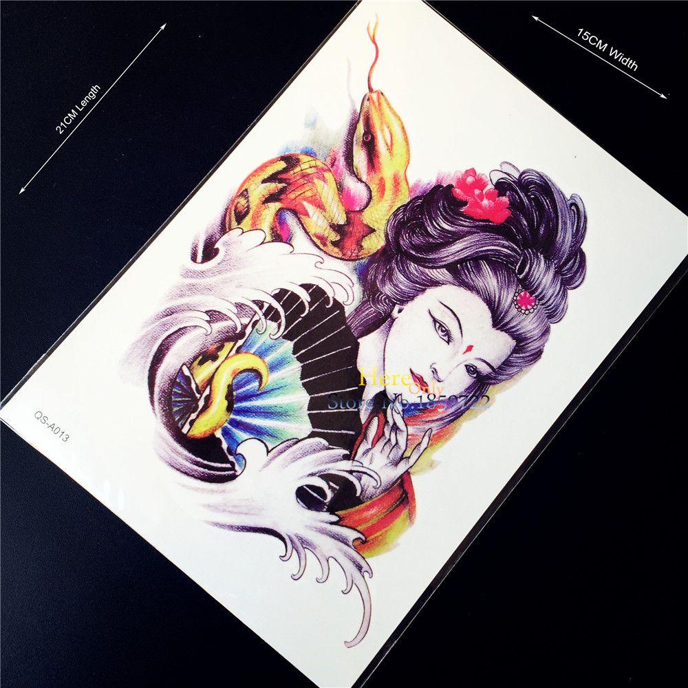 cf0fce2d1 1PC Good Quality Japanese Geisha Women Temporary Tattoo Stickers HQS-A013  Men Armband Tattoo Self Ahdeisve Waterproof Body Art
