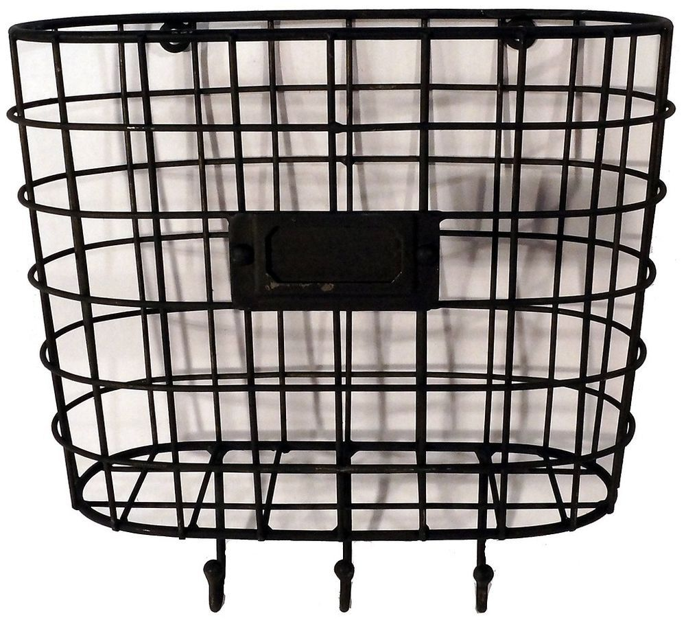 Metal Wire Basket Wall Pocket Mail Holder Organizer With Key Hooks Vintage Style Baskets On Wall Wire Baskets Wall Pockets